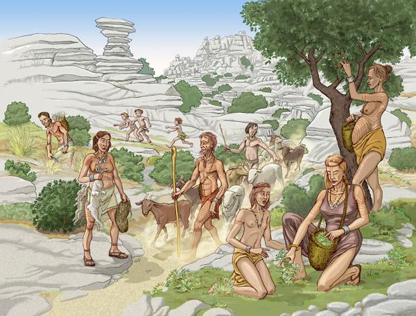 Recreación de las comunidades neolíticas de la cueva del Toro (Torcal de Antequera). Autor: Miguel Salvatierra. Conjunto Arqueológico Dólmenes de Antequera